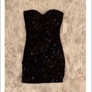 NWT black strapless sequin dress